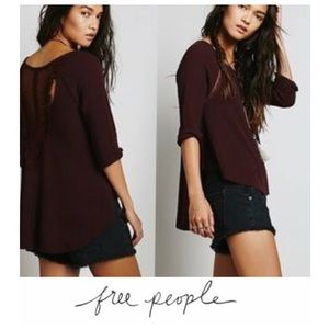 Free People Maroon Lace V-Back 3/4 Sleeve Thermal